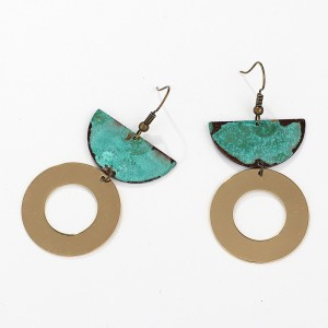 2019 New Trend Jewelry Earring Worn Gold Silver Patina Plated Metal Copper Statement Earrings for Women