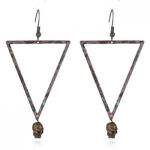 Europe and the United States old metal earrings triangle natural women
