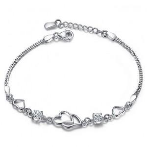 WENZHE Wedding 925 Sterling Silver Charm White CZ Bracelet Heart Jewelry