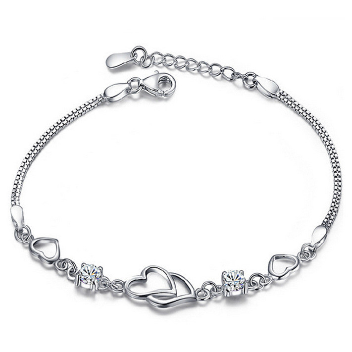 WENZHE Wedding 925 Sterling Silver Charm White CZ Bracelet Heart Jewelry Featured Image