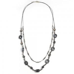 WENZHE Hot Selling Boho Style Beaded Black Cord Long Necklace