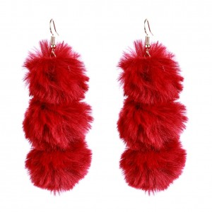 Wholesale Winter Season New Arrival Earrings For Women Fur Ball Pom Pom Earrings