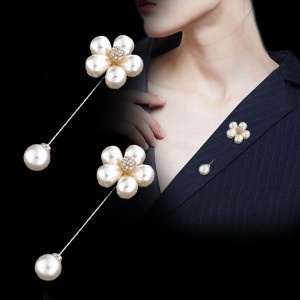 Retro brooch simple fashion word pearl female pin flower shirt sweater pin
