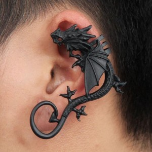 Personality punk wind jewelry no piercings rock exaggerated dragon ear clip