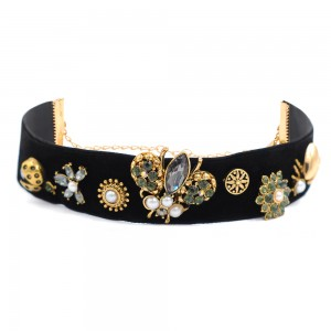 WENZHE New Chic Bee Insect Velvet Choker Necklace Antique Jewellery