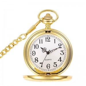 Best Quality Classic Smooth Vintage 14K Gold Quartz Pocket Watch, Roman Numerals Scale Mens Womens pocket watch with chain