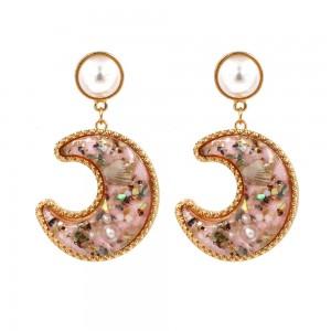 Latest Design Sea Jewelry Women Pearl Shell Resin Moon Shaped Drop Earrings