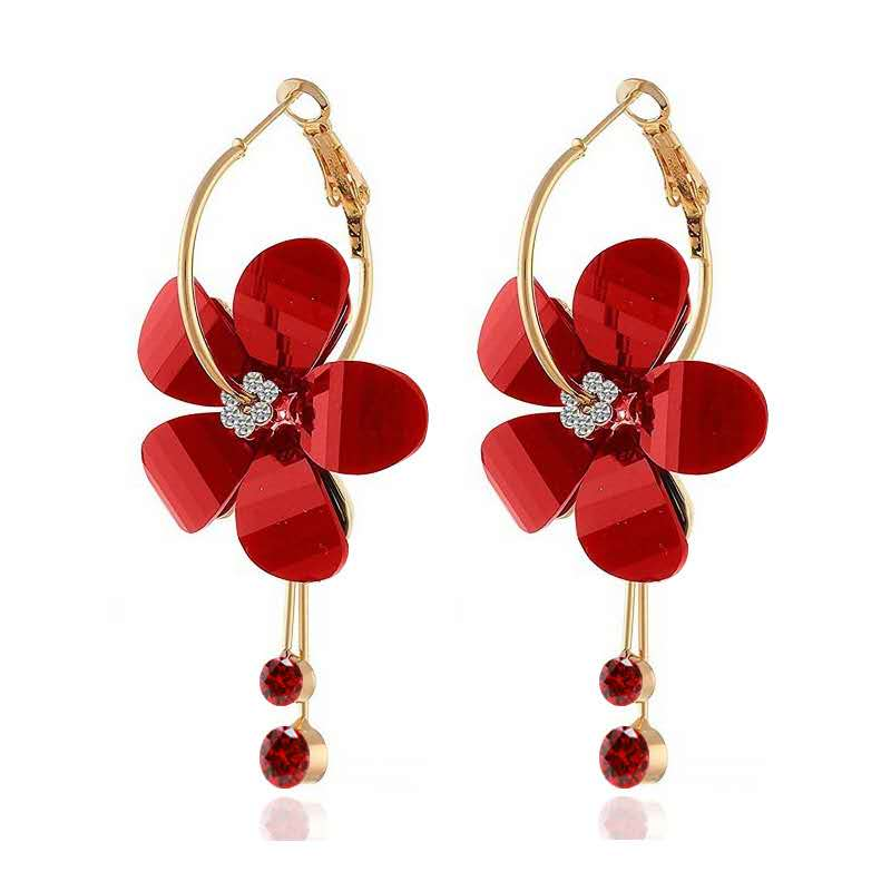 Fashion-flower-petal-alloy-acrylic-diamond-earrings (3)