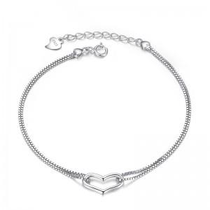 WENZHE wholesale heart 925 silver bracelet jewelry for women