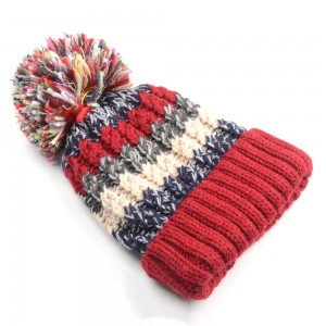 WENZHE Customized Headwear Winter Multicolor Keeping Warm Knitted hat Large Pom Pom Beanie