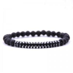 New Fashion Black Lava Stone Beaded Charm Bracelets Popular Copper Beads Bracelet For Men Gift