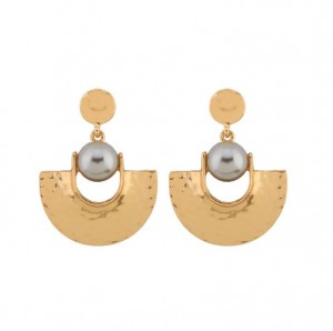 Hot sale alibaba stock gold plated sector pearl jewelry statement earrings
