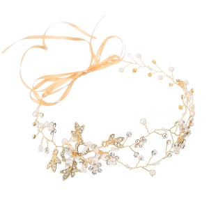 WENZHE wholesale handmade hollow flower hair accessories pearl rhinestone wedding headband bridal accessories