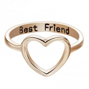 China Wholesale Market Alloy Friendship Hollow Gold Heart Best Friend Ring