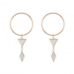 24K Gold Exaggerating Circle Modern Minimalist Geometric Earrings Women