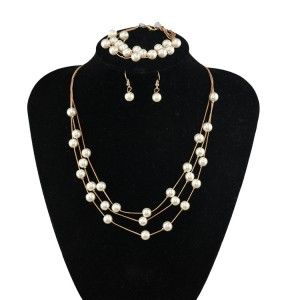 Elegant Pearl Multilayer Temperament Necklace Earrings Bracelet Set Three-Piece Set