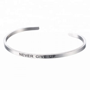 Never Give Up Engraved Cuff Bracelet For Girlfriend Boyfriend Couples Mom Kids