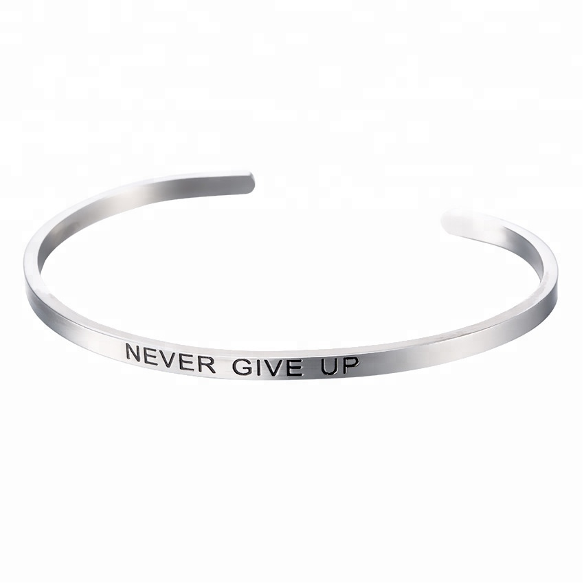 Never Give Up Engraved Cuff Bracelet For Girlfriend Boyfriend Couples Mom Kids Featured Image