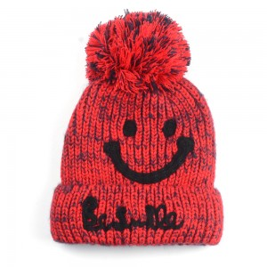 WENZHE Winter Women Knitted Beanie Hat Fashion Smiley Face Wool Outdoor Warm Beanie Hat