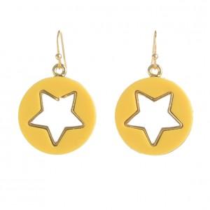 WENZHE Fashion Yellow Round Hollow Star Shape Acrylic Drop Earrings For Women