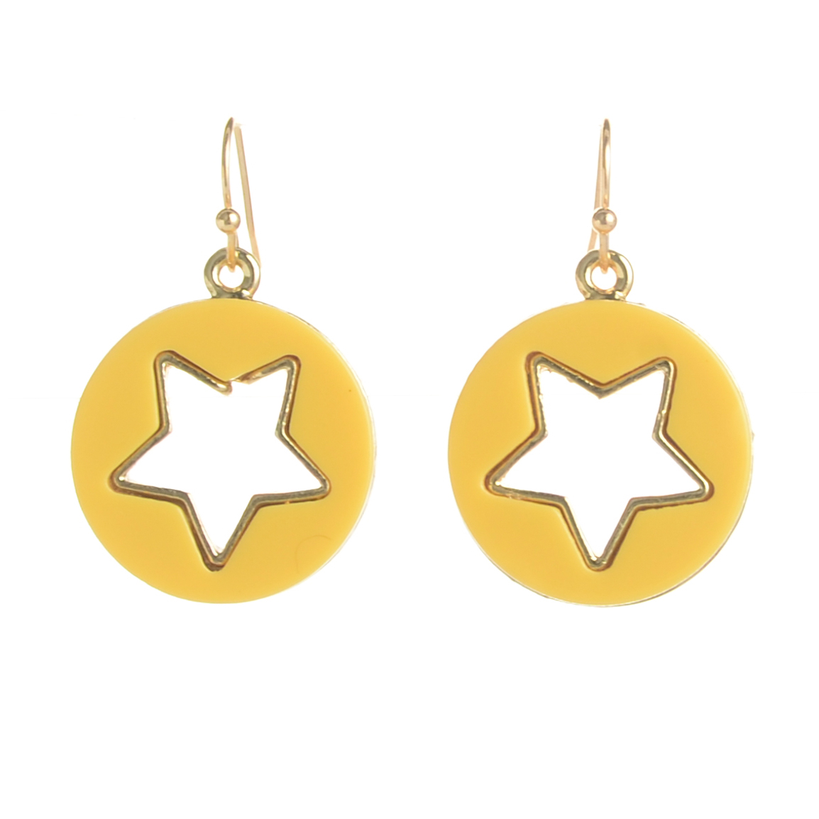 WENZHE Fashion Yellow Round Hollow Star Shape Acrylic Drop Earrings For Women Featured Image