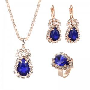 European and American Bridal Jewelry Set Fashion Luxury Crystal Gemstone Ring Necklace Earrings Set Women's Jewelry