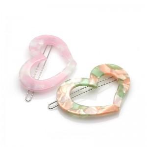Fashion Wholesale Korean Style Custom Acrylic Heart Shaped Design Hair Clips for Girls