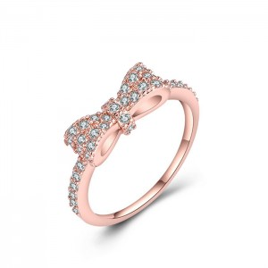 Latest Fashion Diamond Engagement Ring Cubic Zirconia Brass Bow Rings For Women