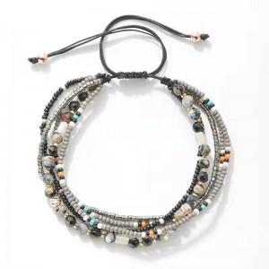 WENZHE Bohemian boho summer beach elegant beads crystal multilayer adjustable bracelet