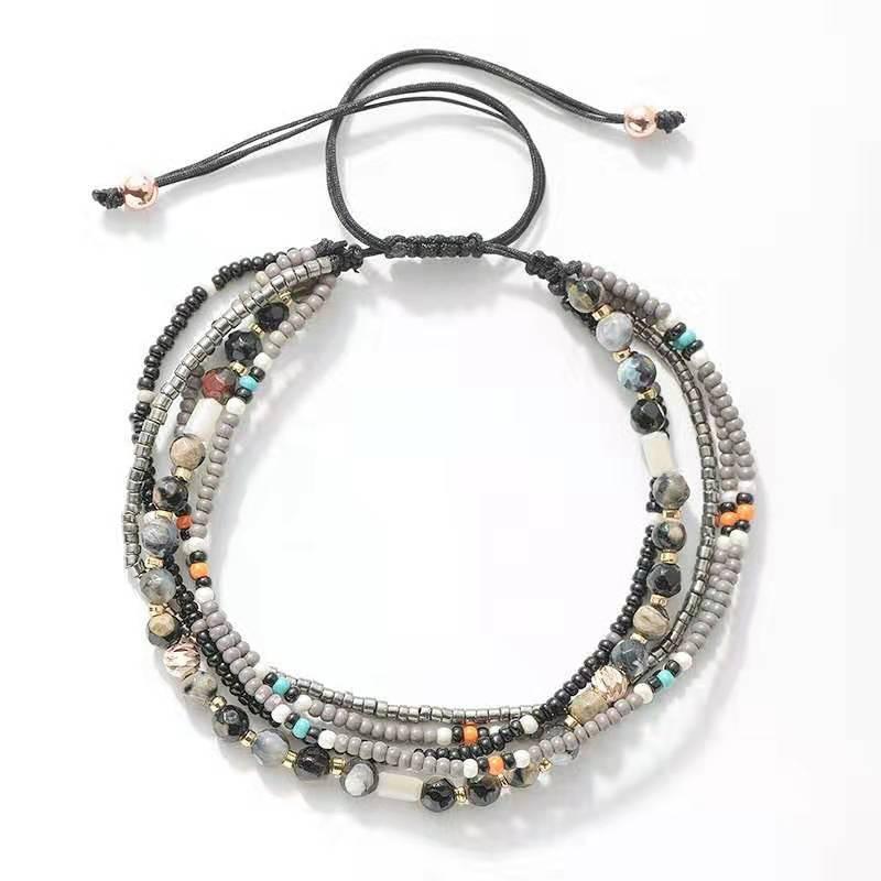 WENZHE Bohemian boho summer beach elegant beads crystal multilayer adjustable bracelet Featured Image