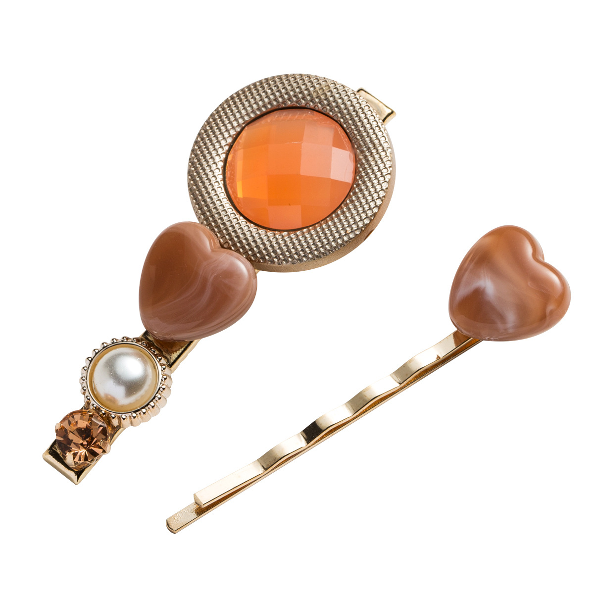 WENZHE Korean Style Acrylic Acetate Pearl Heart Hairpin Duckbill Clip Set Featured Image