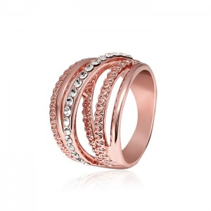 New Design Fashion Crystal Paved Finger Ring Multilayer Diamond Wedding Rings For Women