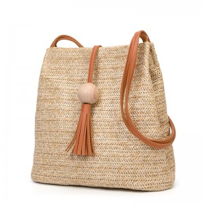 WENZHE New Style Women Wood ball Tassel Crossbody Bag Bucket Straw Shoulder Bag