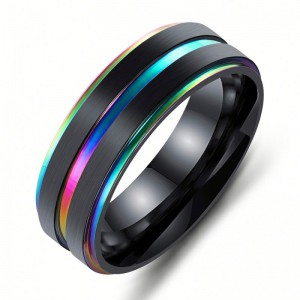 Wholesale Fashion Custom Mens Rainbow Color Stainless Steel Jewelry Ring