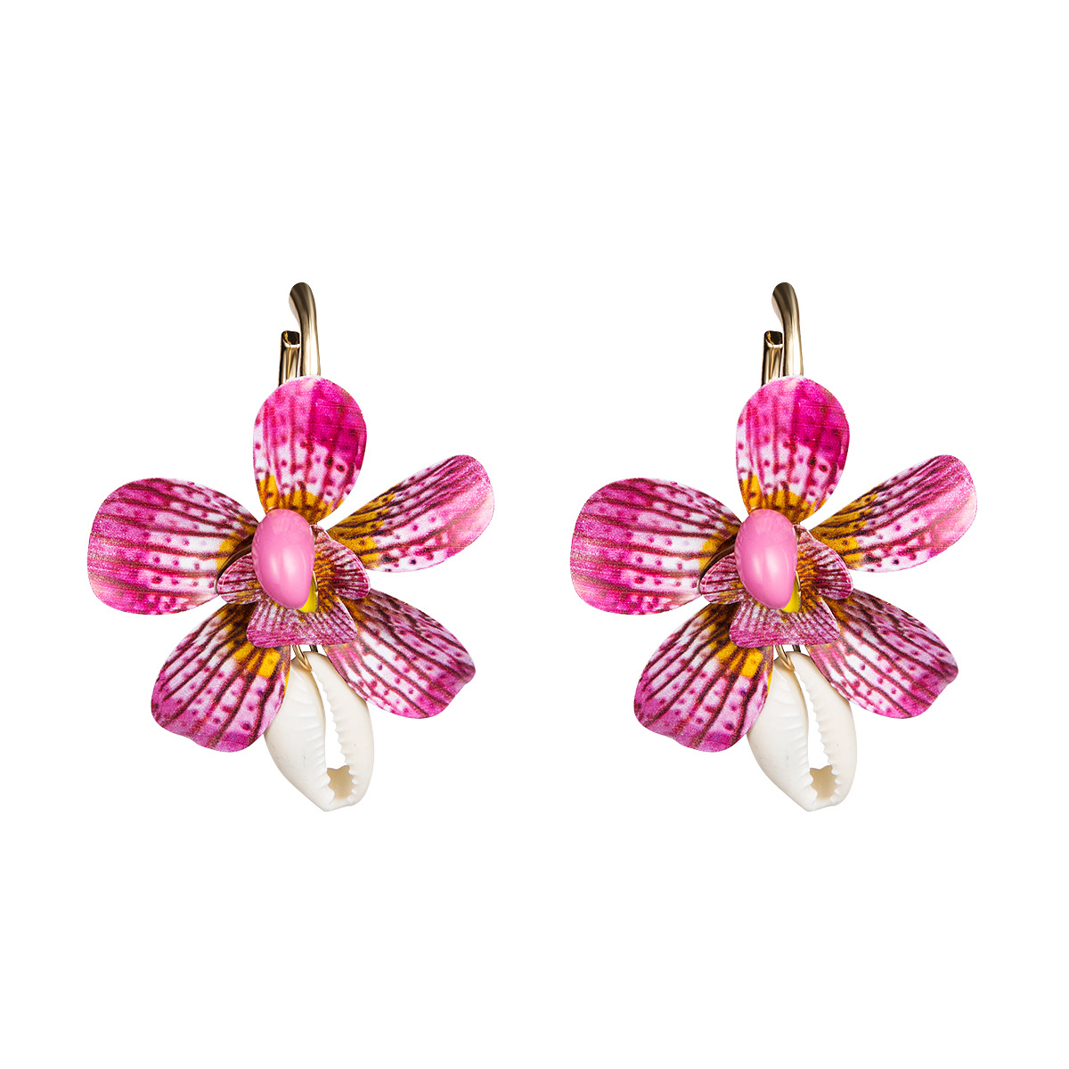 WENZHE New style beautiful hand made pink spray paint flower seashell drop earrings Featured Image