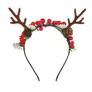 2019 Newest Design Halloween Festival Emulational Flower And Pine Cone Hair Bands With Antlers