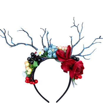 2019 Newest Design Halloween Festival Emulational Flower And Berry Hair Bands With Antlers Featured Image