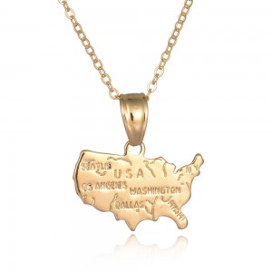 Wholesale USA Map Texas State Map Pendant Chain Necklace Gold Plated Gifts Jewelry