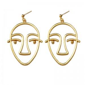 Wholesale Hollow Gold Plated Drop Earring Designs Punk Art Human Face Earrings