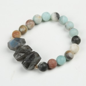 Hot Sale Fashion matte natural stone bracelets frosted gemstone elastic bracelets