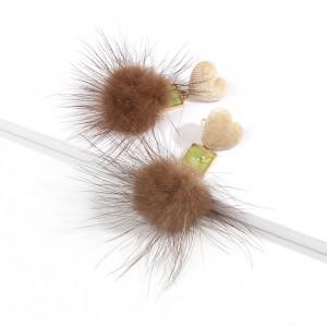 New Arrival Winter Fashion Heart Big Fluffy Pom Pom Fur Ball Dangle Earrings