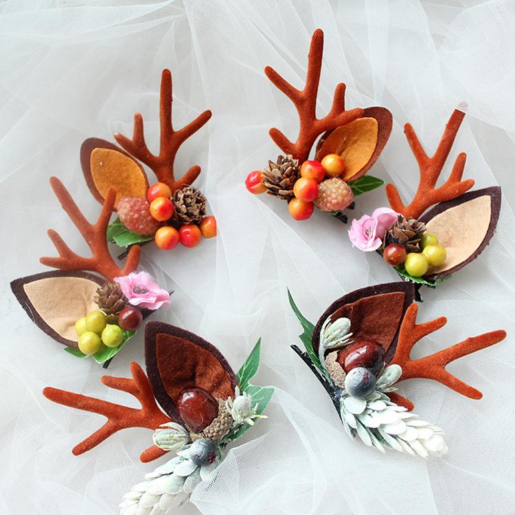 Fashion Design Handmade Antler Hairclips Christmas Deer Ears Hairclip For Children Featured Image