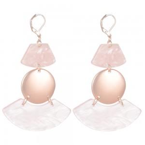 WENZHE Fashion Women Geometric Pink Acrylic Dangle Drop Earrings