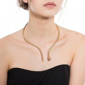 WENZHE Wholesale Chunky Statement Necklace Alloy Gold Silver Plated Snake Choker Necklace