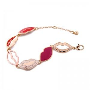 Enamel Crystal Hollow Lip Charm Bracelets Women Jewelry