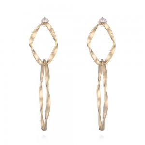 WENZHE Simple twist thread irregular elliptical ring earrings copper silver needle ladies matte earrings