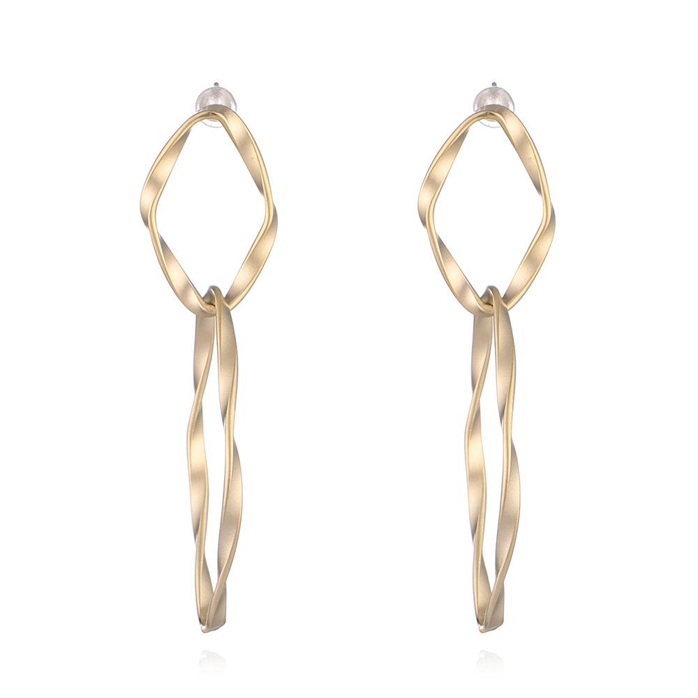 WENZHE Simple twist thread irregular elliptical ring earrings copper silver needle ladies matte earrings Featured Image