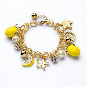 Star Starfish Bracelet Summer Lemon Yellow Fruit Bracelet For Women