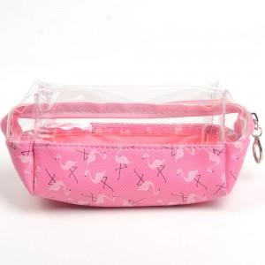 WENZHE Travel Floral Pink Flamingo Women Makeup Bags Female Zipper Cosmetics Bag