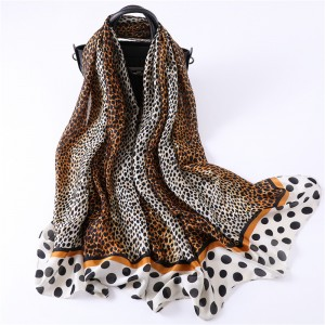 WENZHE Fashion Classic Leopard Polka Dot Silk Scarf Ladies Travel Sunscreen Shawl